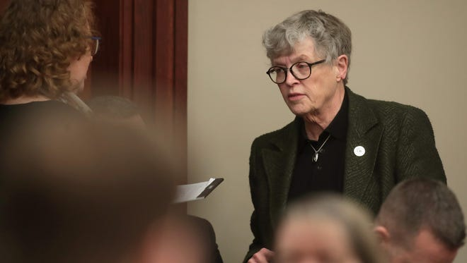 Michigan State University/President Lou Anna Simon attends the sentencing hearing for Larry Nassar who has been accused of molesting more than 100 girls while he was a physician for USA Gymnastics and Michigan State University where he had his sports-medicine practice on Jan. 17, 2018, in Lansing,