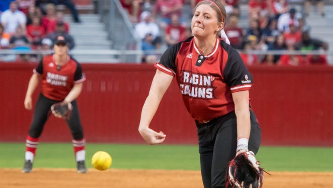 UL's Carrie Boswell has turned out to be both a pitcher and a hitter for the Ragin' Cajuns as a true freshman this season.