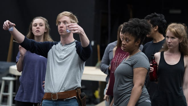 Benjamin Taylor Davis plays Andrew Jackson in the play Bloody Bloody Andrew Jackson during rehearsal on Tuesday, May 22, 2018.
