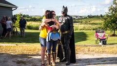 Fulfilling his final wishes, 5-year-old Garrett Matthias' celebration of life features a Viking funeral, bouncy houses and superheroes