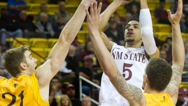 Matt Taylor (5) and New Mexico State take on New Mexico tonight in Albuquerque in the second of two Rio Grande Rivalry games.