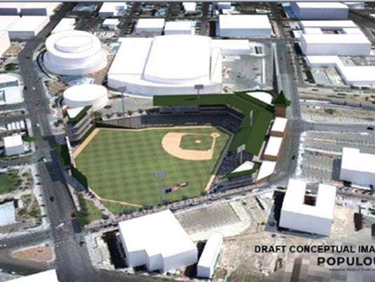 A conceptual draft drawing of the Triple A baseball stadium to be built in Downtown El Paso, Texas.