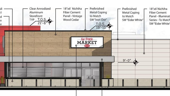 This architectural rendering shows how the new Kum & Go Marketplace store will appear from the south.