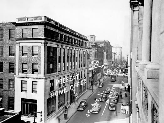 Life and Casualty Insurance Co.'s present home office building on Fourth Avenue North, shown here on March 4, 1950, is next door to the new site for the company's new building.