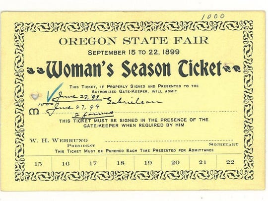 """In the early days of the fair, admission to the fair was cheaper for woman than for a man. This is a """"Woman's Season Ticket"""" for the 1899 Oregon State Fair."""