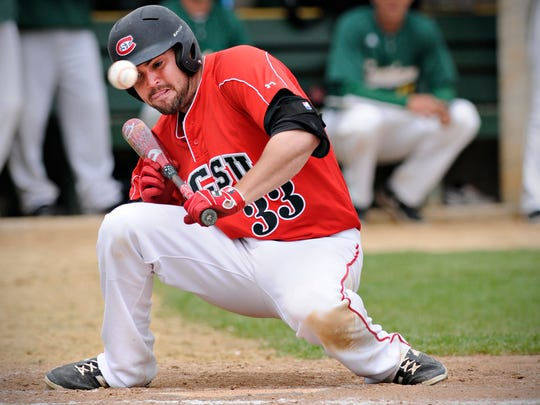 St. Cloud State's Zach Hoffmann changes his mind on a bunt attempt against Missouri Southern State during the sixth inning Friday at Bob Cross Park in Sauk Rapids.