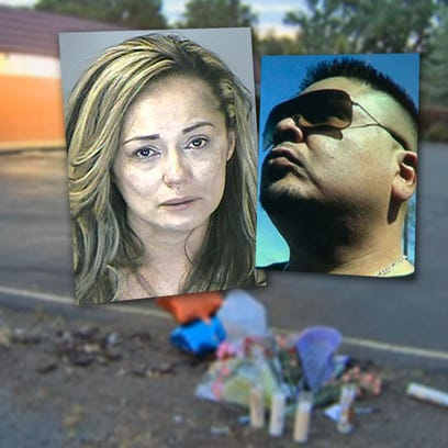 Police say Nancy Jo Arias, 38, ran over Phillip Lobato, 38, because the victim struck Arias in the face several times during an argument the couple had inside a car just after midnight Monday.