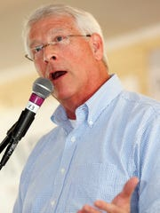 Sen. Roger Wicker, R-Miss., encourages the audience to join ranks and support Republican presidential candidate Donald Trump while criticizing Democrat presidential candidate Hillary Clinton during his 10-minute speech at the Neshoba County Fair on Thursday.
