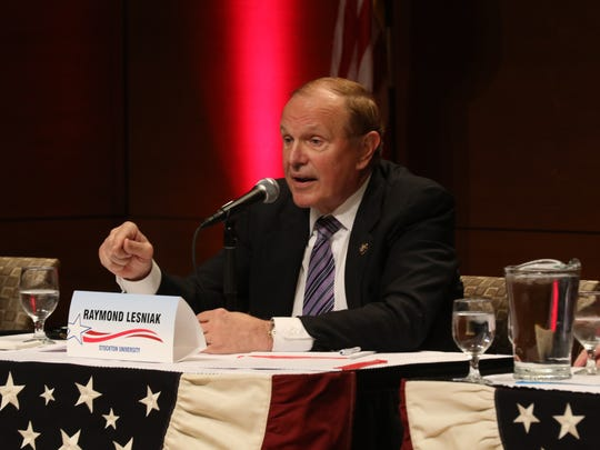 Democratic candidate Ray Lesniak answers a question during the Democratic debate.