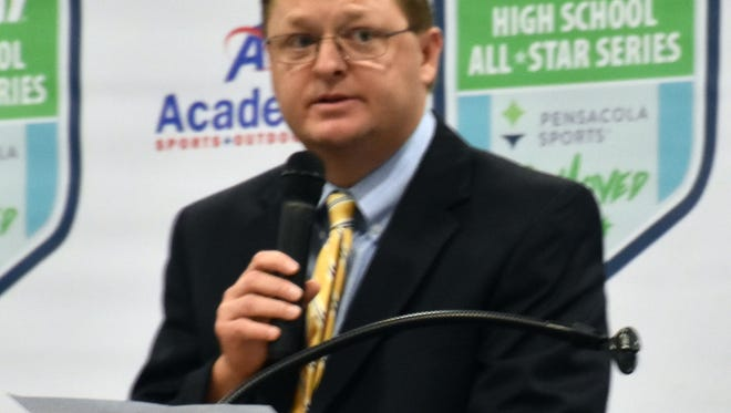 Pensacola Sports Board Chair Jehan Clark speaks at the 2017 Subway High School All-Star Baseball/Softball Banquet at the Gulf Breeze Community Center on Wednesday, June 7, 2017.