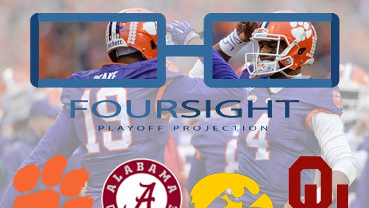Clemson remains No. 1 in the FourSight College Football Playoff projection.