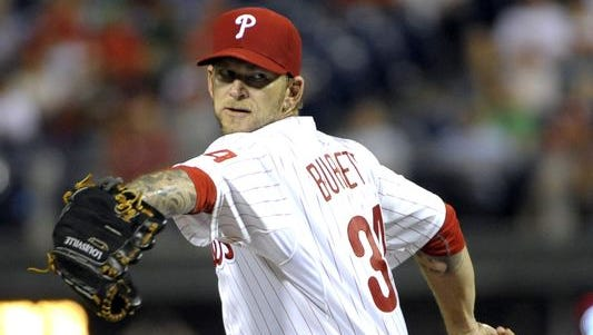 Philadelphia Phillies starting pitcher A.J. Burnett (34) throws a pitch Sept. 24 during the second inning against the Atlanta Braves at Citizens Bank Park. Credit: Eric Hartline-USA TODAY Sports