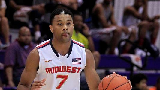 Team USA Midwest player James Blackmon dribbles up court against Team Brasil during the Nike Global Challenge at Trinity University in Washington, D.C. last summer.