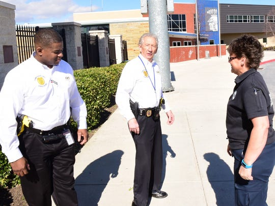 Chambersburg Area School District's Paul Weachter, center, security chief is joined by Gene Covington, left, and Melissa Gunder on Monday, Feb. 29, 2016 at CASHS. The security officers patrol the schools in the district.