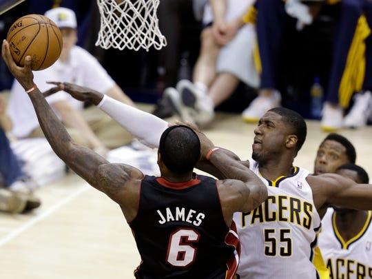 LeBron James of the Miami Heat shoots against Indiana