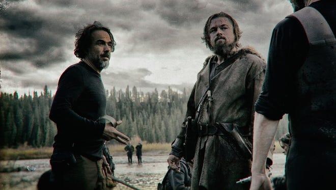 "Leonardo DiCaprio and Alejandro González Iñárritu in a scene from ""The Revenant."""