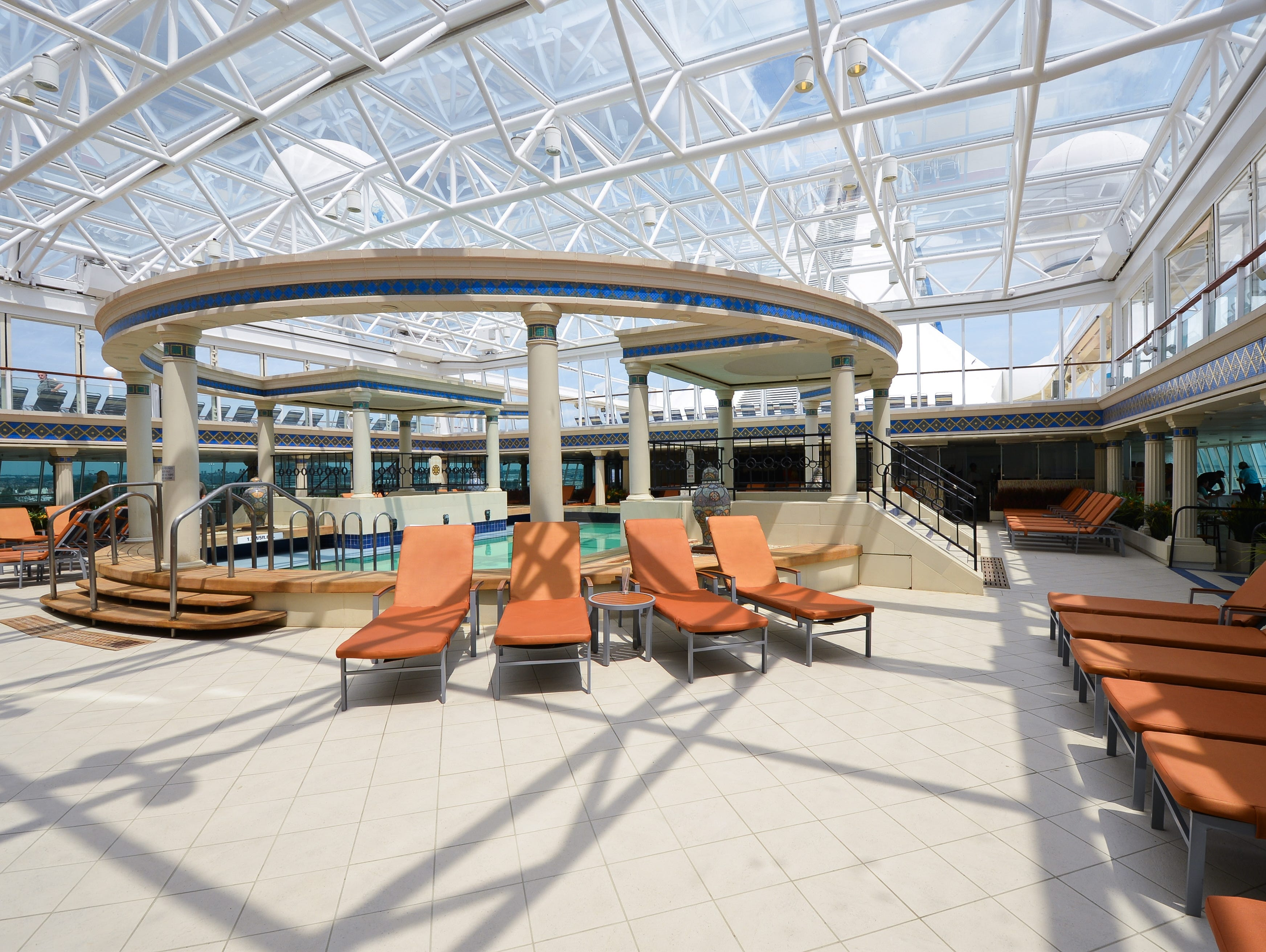 In addition to the main pool, Grandeur of the Seas has a second pool in an indoor/outdoor area called the Solarium.