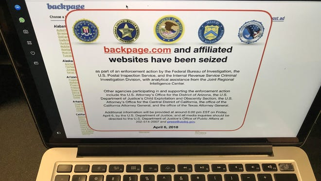 A screen shot of the website Backpage.com is seen April 6. Federal law enforcement authorities are in the process of seizing Backpage.com and its affiliated websites.