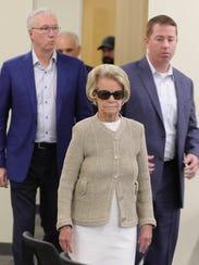 Lions owner Martha Firestone Ford arrives for Matt Patricia's press conference, Thursday.