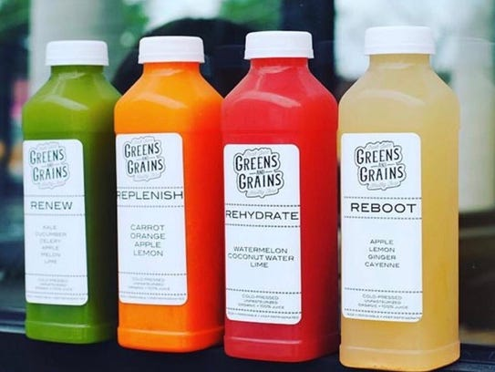 A selection of juices at Greens and Grains.
