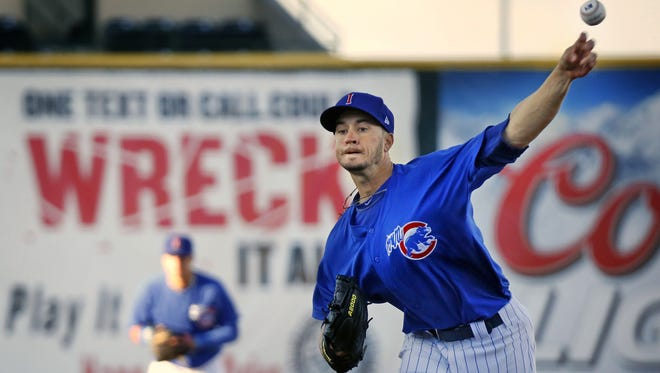 Iowa Cubs pitcher Chris Rusin, pictured in a game earlier this season, threw six scoreless innings in an 8-3 win over Colorado Springs on Saturday night.