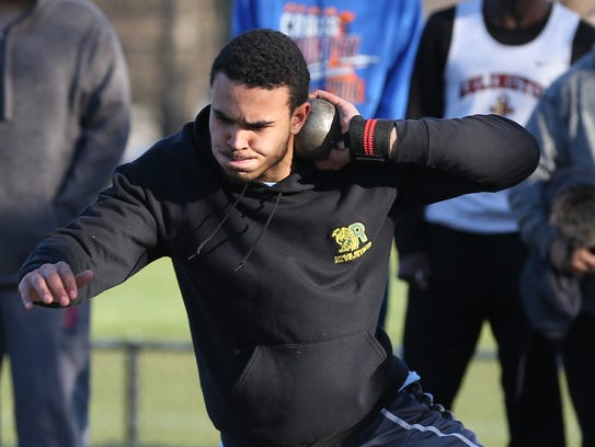 Ramapo's Anthony Harrison competes in the Shot Putt