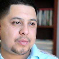 Luis Moreno, 23, in the offices of the Salinas Californian on Wednesday. A Salinas resident, he was recognized by the City Council for saving a choking 4-year-old on the 1200 block of Modena Street.