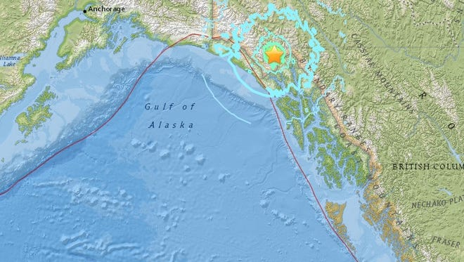 A magnitude 6.3 earthquake (yellow star) was recorded in British Columbia on Monday, May 1, 2017.