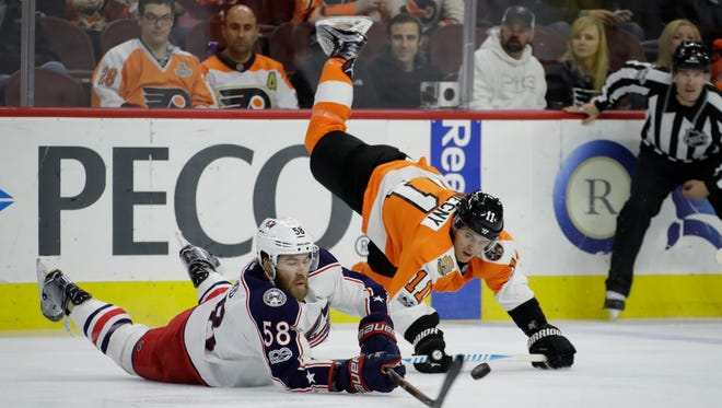 Travis Konecny had a pair of goals, but also took the penalty that led to Columbus' game-winning tally