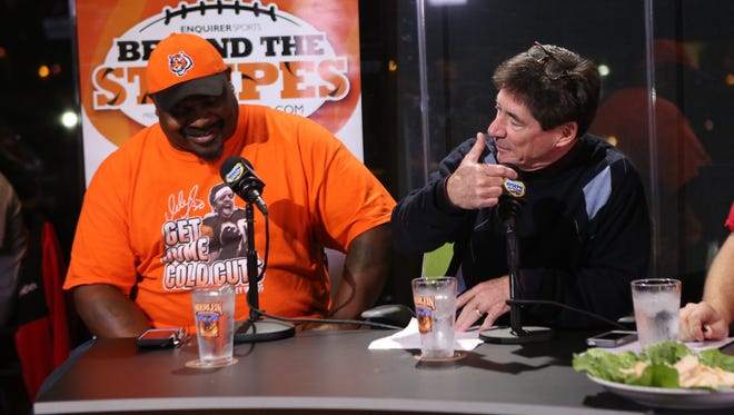 """Ickey Woods talks with Paul Daugherty on """"Beyond the Stripes"""" on October 28, 2014."""