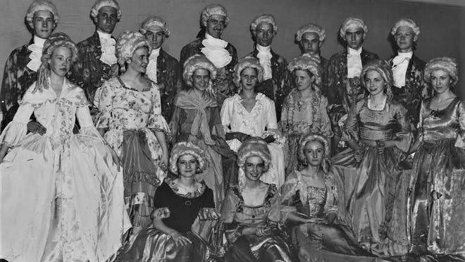 Dancers display Colonial dress in 1935 Bicentennial.
