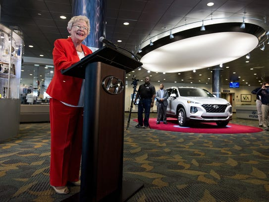 Alabama Gov. Kay Ivey speaks during a jobs announcement