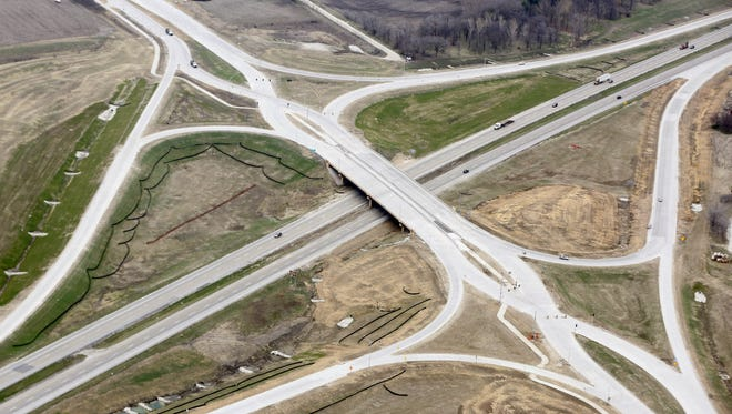 An aerial view of the new diverging diamond intersection March 30, 2016 in Waukee.