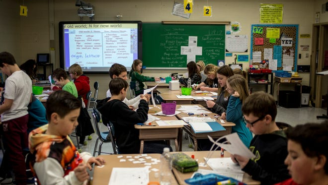 Students work on an activity during a sixth-grade social studies class Thursday, Jan. 19, 2017 at Yale Jr. High School.