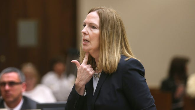 District Attorney Sandra Doorley  explains to jurors how Officer Daryl Pierson was shot and killed during opening statements April 27 in the trial against Thomas Johnson lll, who is accused of the killing.