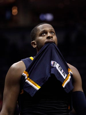 Indiana Pacers guard C.J. Miles reacts after losing to the Milwaukee Bucks in the final seconds during the second half of an NBA basketball game Thursday, March 26, 2015 in Milwaukee. The Bucks beat the Pacers 111-107. (AP Photo/Darren Hauck)