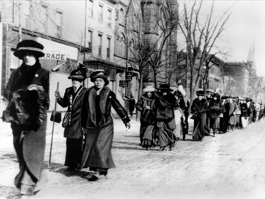 "Suffragists led by ""General"" Rosalie Jones march from New York on their way to the Woman Suffrage Procession in Washington D.C., on the eve of Woodrow Wilson's inaugural in March 1913.  (AP Photo)"