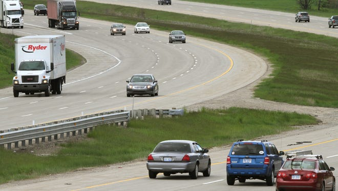 Traffic travels on Interstate 96. A group of homeowners hope to halt the improvements to the I-96 and U.S. 23 interchange, at least temporarily, to further address sound concerns.