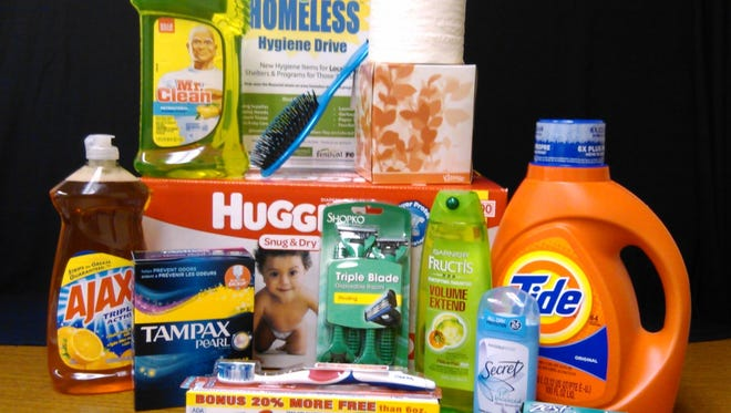 A 'Help for the Homeless' hygiene drive seeks items such as laundry soap, hair and dental care items, deodorant, diapers, and other personal care and cleaning products.