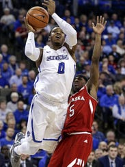 Creighton's Marcus Foster (0) goes for a basket against