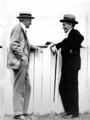 Henry Ford and Harvey Firestone at Indianapolis Motor Speedway the day before the Indianapolis 500 in 1932. The race that year was won by Fred Frame.