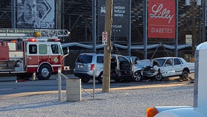One person was killed Wednesday in a head-on crash outside the Indianapolis Motor Speedway.