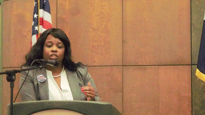 Demetria Smith during the Governor Candidate Forum in San Angelo on Monday, Jan. 8.