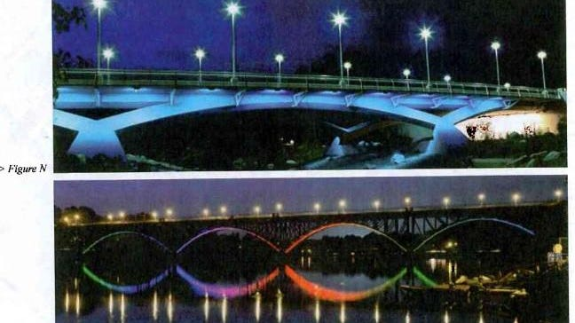 Examples of what the bridge lighting project could look like.
