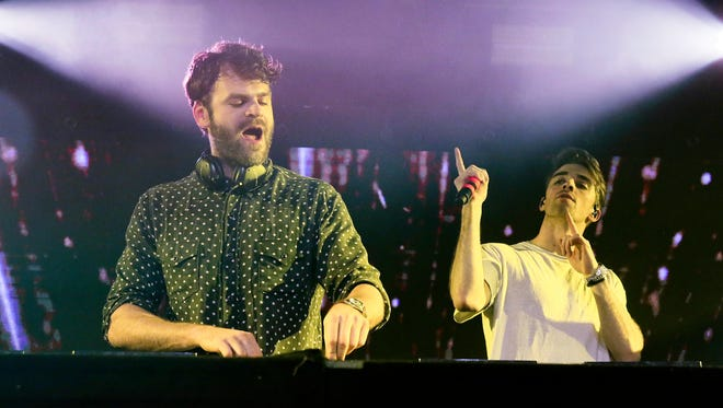 The Chainsmokers' Alex Pall, left, and Drew Taggart perform at the SONY Lost in Music Showcase during the South by Southwest Music Festival early March 2017, in Austin, Texas.