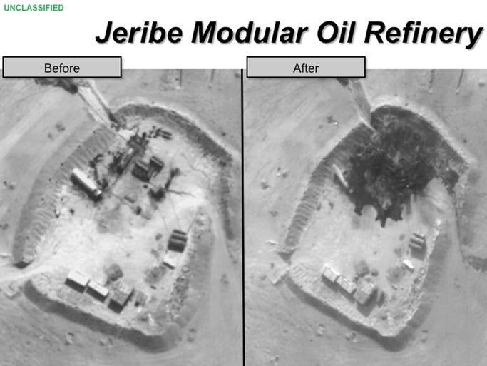 Two photographs provided by the Pentagon on Sept. 25 shows before and after images of an airstrike on the Jerible Modular oil refinery in Syria.