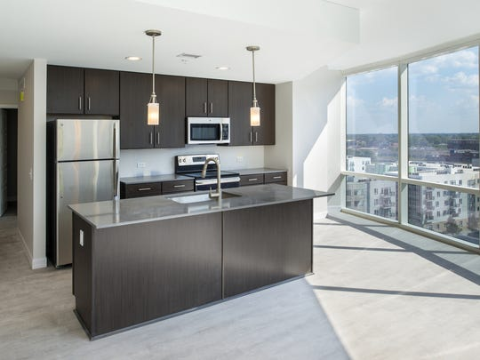The interior of an apartment at 360 Market Square, a new apartment tower on the site of the former Market Square Arena.