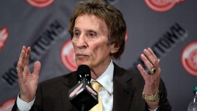 Detroit Red Wings owner Mike Ilitch addresses the media May 31, 2012.