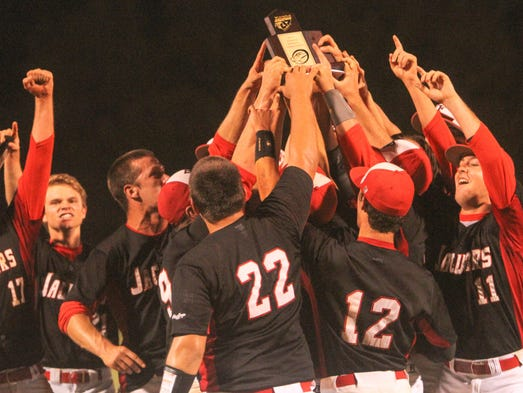 The West Florida Tech Jaguars celebrate after defeating Pensacola Catholic 4-2 Thursday night for the District 1-4A title.