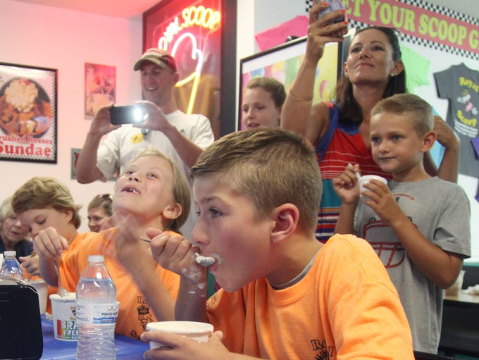 Dalton Yates, 10, right, along with other competitors,